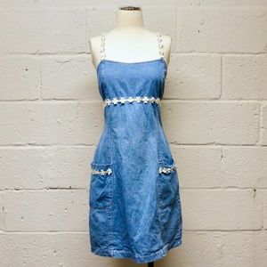 SALE VTG 90's Switch Denim Daisy Dress w/ Pockets